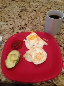 Breakfast of champions after my 8 mile run.  I need to improve my food pictures.  LOL!